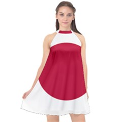 Flag Of Japan Halter Neckline Chiffon Dress