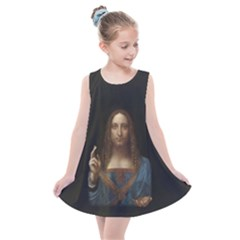 Salvator Mundi Leonardo Davindi 1500 Jesus Christ Savior Of The World Original Paint Most Expensive In The World Kids  Summer Dress by snek