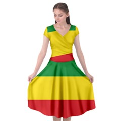 Flag Of Ethiopia Cap Sleeve Wrap Front Dress