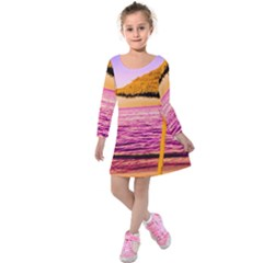Pop Art Beach Umbrella  Kids  Long Sleeve Velvet Dress by essentialimage