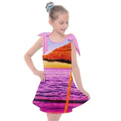 Pop Art Beach Umbrella  Kids  Tie Up Tunic Dress by essentialimage