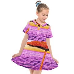 Pop Art Beach Umbrella  Kids  Short Sleeve Shirt Dress by essentialimage