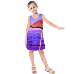 Pop Art Beach Umbrella  Kids  Sleeveless Dress by essentialimage