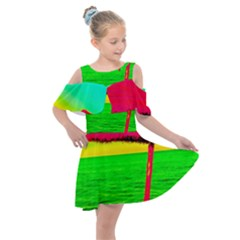 Pop Art Beach Umbrella Kids  Shoulder Cutout Chiffon Dress by essentialimage