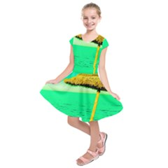Pop Art Beach Umbrella  Kids  Short Sleeve Dress by essentialimage