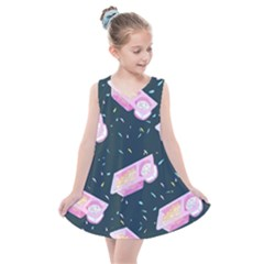 Dunkaroos Funfetti Print Dark Blue 1 Kids  Summer Dress by elizabethjonesstyling