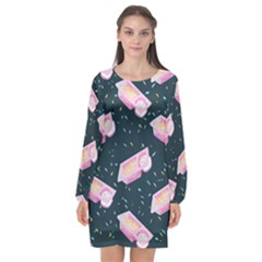 Dunkaroos Funfetti Print Dark Blue 1 Long Sleeve Chiffon Shift Dress