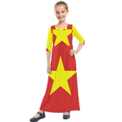 Flag Of Vietnam Kids  Quarter Sleeve Maxi Dress by abbeyz71