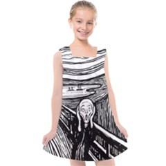 The Scream Edvard Munch 1893 Original Lithography Black And White Engraving Kids  Cross Back Dress by snek