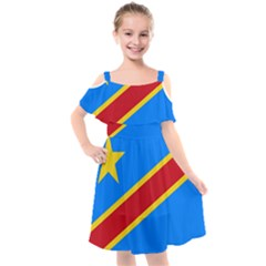 Flag Of The Democratic Republic Of The Congo Kids  Cut Out Shoulders Chiffon Dress by abbeyz71
