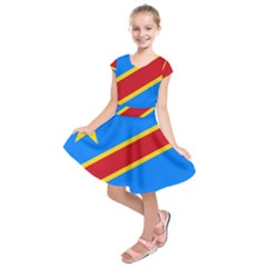 Flag Of The Democratic Republic Of The Congo Kids  Short Sleeve Dress by abbeyz71