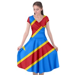 Flag Of The Democratic Republic Of The Congo Cap Sleeve Wrap Front Dress