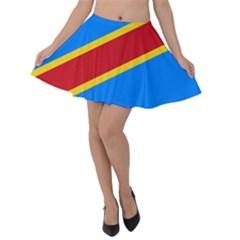 Flag Of The Democratic Republic Of The Congo Velvet Skater Skirt