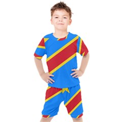 Flag Of The Democratic Republic Of The Congo, 1997 2003 Kids  Tee And Shorts Set by abbeyz71