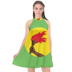 Flag Of Zaire Halter Neckline Chiffon Dress