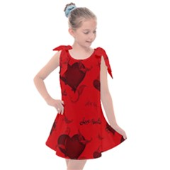 Wonderful Pattern Of Hearts Kids  Tie Up Tunic Dress by FantasyWorld7