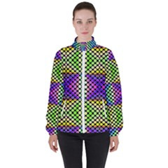 Bright  Circle Abstract Black Yellow Purple Green Blue Women s High Neck Windbreaker by BrightVibesDesign