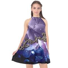 Wonderful Floral Design Halter Neckline Chiffon Dress  by FantasyWorld7