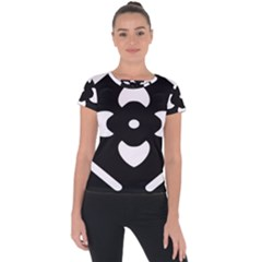 Pattern Flower Black Short Sleeve Sports Top  by HermanTelo