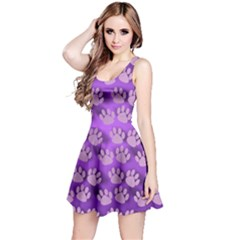Pattern Texture Feet Dog Purple Reversible Sleeveless Dress
