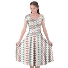 Pattern Line Background Wallpaper Cap Sleeve Wrap Front Dress