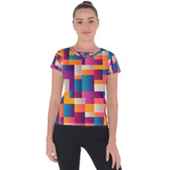Abstract Geometry Blocks Short Sleeve Sports Top