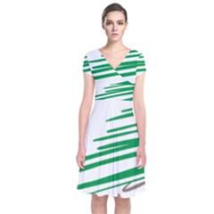 Christmas Tree Pine Holidays Short Sleeve Front Wrap Dress