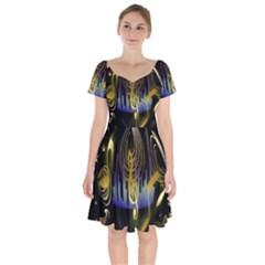 Background Level Clef Note Music Short Sleeve Bardot Dress
