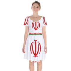 Vertical Flag Of Iran Short Sleeve Bardot Dress by abbeyz71