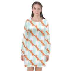 Wallpaper Chevron Long Sleeve Chiffon Shift Dress