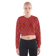 Pattern Red Background Structure Cropped Sweatshirt by HermanTelo