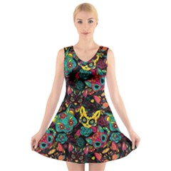 Funny Sugar Skull Cat V-neck Sleeveless Dress by trulycreative