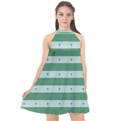 Pattern Triangle Halter Neckline Chiffon Dress  by Alisyart