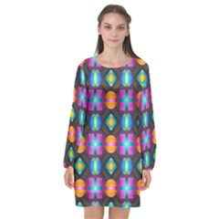 Squares Spheres Backgrounds Texture Long Sleeve Chiffon Shift Dress  by HermanTelo