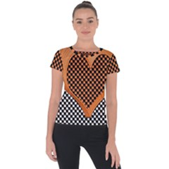 Heart Chess Board Checkerboard Short Sleeve Sports Top