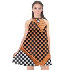 Heart Chess Board Checkerboard Halter Neckline Chiffon Dress