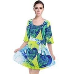 Heart Emotions Love Blue Velour Kimono Dress by HermanTelo