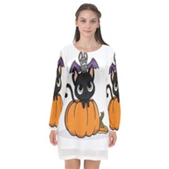Halloween Cute Cat Long Sleeve Chiffon Shift Dress