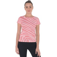 Pattern Texture Pink Short Sleeve Sports Top  by HermanTelo