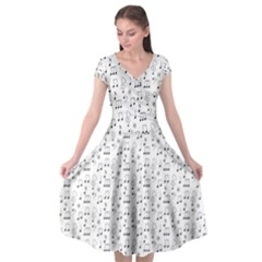 Music Notes Background Wallpaper Cap Sleeve Wrap Front Dress