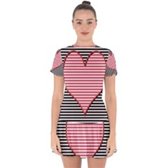 Heart Stripes Symbol Striped Drop Hem Mini Chiffon Dress