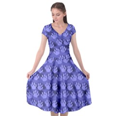 Pattern Texture Feet Dog Blue Cap Sleeve Wrap Front Dress