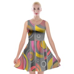 Abstract Colorful Background Grey Velvet Skater Dress