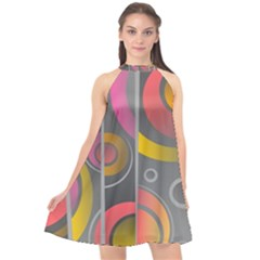 Abstract Colorful Background Grey Halter Neckline Chiffon Dress  by HermanTelo