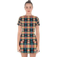 Texture Red Drop Hem Mini Chiffon Dress by HermanTelo