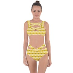 Pattern Pink Yellow Bandaged Up Bikini Set