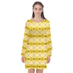 Pattern Pink Yellow Long Sleeve Chiffon Shift Dress