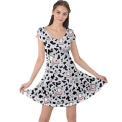 Funny Cartoon Cow Cap Sleeve Dress by trulycreative