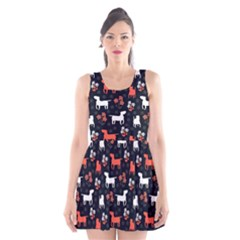 Bull Terrier Dog Silhouettes Scoop Neck Skater Dress by trulycreative