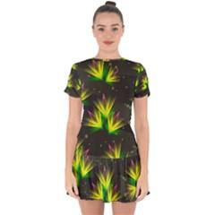 Floral Abstract Lines Drop Hem Mini Chiffon Dress